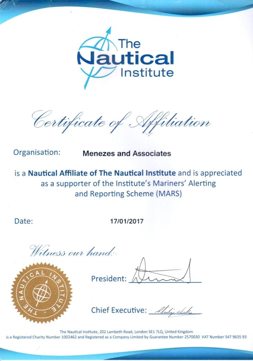 The Nautical Institute Certificate