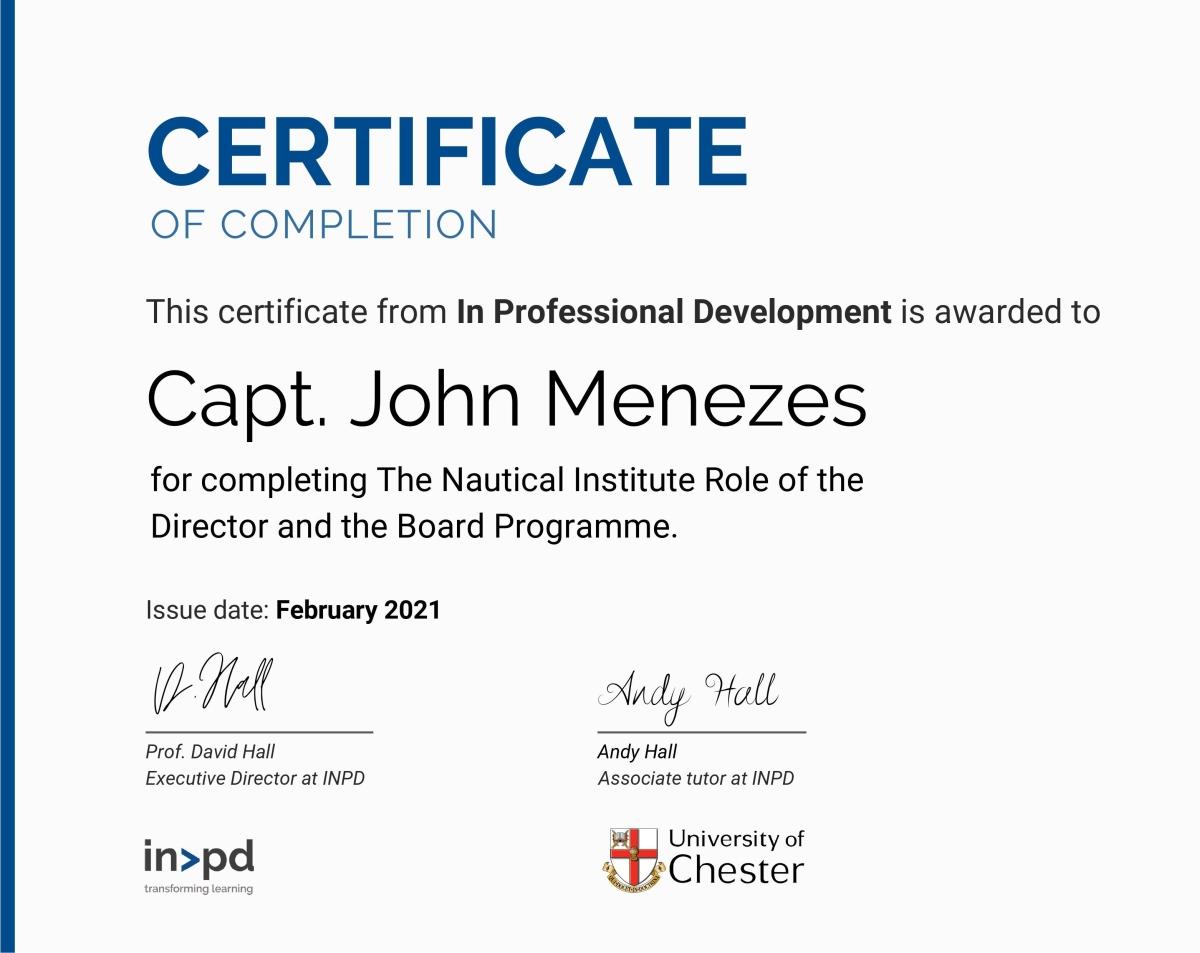 Capt John Menezes Certificate NI